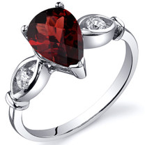 3 Stone 1.50 carats Garnet Sterling Silver Ring in Sizes 5 to 9 Style SR10156