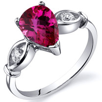 3 Stone 1.50 carats Ruby Sterling Silver Ring in Sizes 5 to 9 Style SR10164