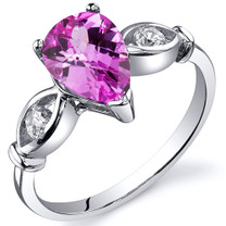 3 Stone 1.75 carats Pink Sapphire Sterling Silver Ring in Sizes 5 to 9 Style SR10168