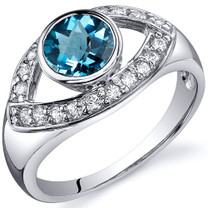 Captivating Curves 1.00 carats Swiss Blue Topaz Sterling Silver Ring in Sizes 5 to 9 Style SR10196