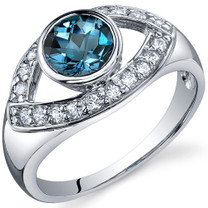 Captivating Curves 1.00 carats London Blue Topaz Sterling Silver Ring in Size 5 to 9 Style SR10198