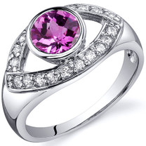 Captivating Curves 1.00 carats Pink Sapphire Sterling Silver Ring in Sizes 5 to 9 Style SR10204