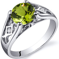 Cathedral Design 1.25 carats Peridot Solitaire Sterling Silver Ring in Sizes 5 to 9 Style SR10212