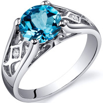 Cathedral Design 1.75 carats Swiss Blue Topaz Solitaire Sterling Silver Ring in Size 5 to 9 Style SR10214