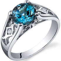 Cathedral Design 1.50 carats London Blue Topaz Solitaire Sterling Silver Ring in Size 5 to 9 Style SR10216