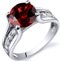 Solitaire Style 2.50 carats Garnet Sterling Silver Ring in Sizes 5 to 9 Style SR10228