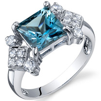 Princess Cut 2.00 carats London Blue Topaz Cubic Zirconia Sterling Silver Ring in Sizes 5 to 9 Style SR10252
