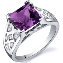 V Prong Princess Cut 2.25 carats Amethyst Cubic Zirconia Sterling Silver Ring in Sizes 5 to 9 Style SR10262