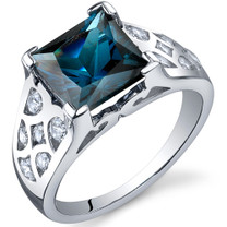 V Prong Princess Cut 2.75 carats London Blue Topaz Sterling Silver Ring in Sizes 5 to 9 Style SR10270