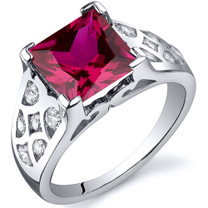 V Prong Princess Cut 3.25 carats Ruby Cubic Zirconia Sterling Silver Ring in Sizes 5 to 9 Style SR10272