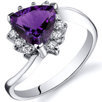Trillion Cut 1.00 carats Amethyst Bypass Sterling Silver Ring in Sizes 5 to 9 Style SR10316