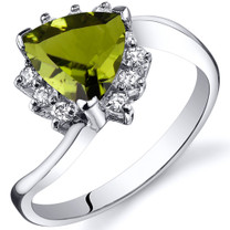 Trillion Cut 1.25 carats Peridot Bypass Sterling Silver Ring in Sizes 5 to 9 Style SR10320