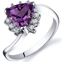 Trillion Cut 1.75 carats Alexandrite Bypass Sterling Silver Ring in Sizes 5 to 9 Style SR10332