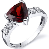 Solitaire Style 2.25 carats Garnet Cubic Zirconia Sterling Silver Ring in Sizes 5 to 9 Style SR10336