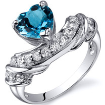 Heart Shape 1.25 carats Swiss Blue Topaz Cubic Zirconia Sterling Silver Ring in Sizes 5 to 9 Style SR10358