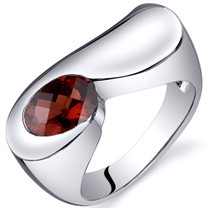 Artistic 1.50 carats Garnet Sterling Silver Ring in Sizes 5 to 9 Style SR10372
