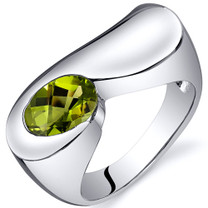 Artistic 1.25 carats Peridot Sterling Silver Ring in Sizes 5 to 9 Style SR10374