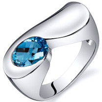 Artistic 1.50 carats Swiss Blue Topaz Sterling Silver Ring in Sizes 5 to 9 Style SR10376