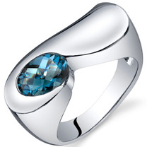 Artistic 1.50 carats London Blue Topaz Sterling Silver Ring in Sizes 5 to 9 Style SR10378
