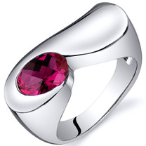Artistic 1.75 carats Ruby Sterling Silver Ring in Sizes 5 to 9 Style SR10380