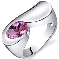 Artistic 1.75 carats Pink Sapphire Sterling Silver Ring in Sizes 5 to 9 Style SR10384