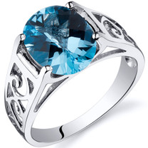 2.75 carats Swiss Blue Topaz Solitiare Sterling Silver Ring in Sizes 5 to 9 Style SR10412