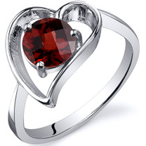 Heart Shape 1.00 carats Garnet Solitaire Sterling Silver Ring in Sizes 5 to 9 Style SR10424