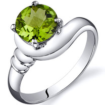 Smooth Seduction 1.25 carats Peridot Solitaire Sterling Silver Ring in Sizes 5 to 9 Style SR10444