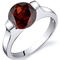 Bezel Set 2.50 carats Garnet Engagement Sterling Silver Ring in Sizes 5 to 9 Style SR10460
