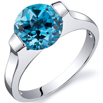 Bezel Set 2.25 carats Swiss Blue Topaz Engagement Sterling Silver Ring in Sizes 5 to 9 Style SR10464