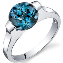 Bezel Set 2.25 carats London Blue Topaz Engagement Sterling Silver Ring in Sizes 5 to 9 Style SR10466