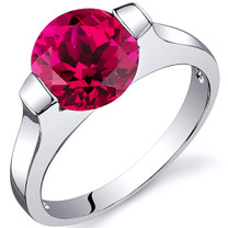 Bezel Set 2.50 carats Ruby Engagement Sterling Silver Ring in Sizes 5 to 9 Style SR10468