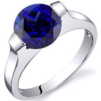 Bezel Set 2.75 carats Blue Sapphire Engagement Sterling Silver Ring in Sizes 5 to 9 Style SR10470