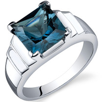 Step Design Princess Cut 2.75 carats London Blue Topaz Sterling Silver Ring in Sizes 5 to 9 Style SR10502