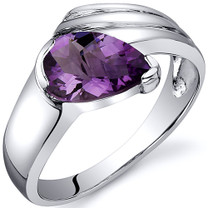 Contemporary Pear Shape 1.00 carats Amethyst Sterling Silver Ring in Sizes 5 to 9 Style SR10512