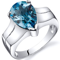 Brilliant 3.25 carats Swiss Blue Topaz Solitaire Sterling Silver Ring in Sizes 5 to 9 Style SR10536