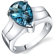 Brilliant 3.25 carats London Blue Topaz Solitaire Sterling Silver Ring in Sizes 5 to 9 Style SR10538