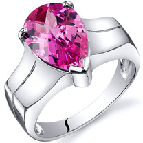 Brilliant 3.75 carats Pink Sapphire Solitaire Sterling Silver Ring in Sizes 5 to 9 Style SR10542