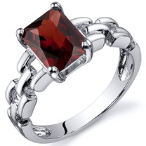 Chain Link Design 1.75 carats Garnet Engagement Sterling Silver Ring in Sizes 5 to 9 Style SR10548