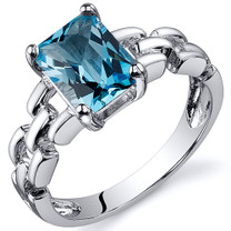 Chain Link Design 1.75 carats Swiss Blue Topaz Engagement Sterling Silver Ring in Sizes 5 to 9 Style SR10552