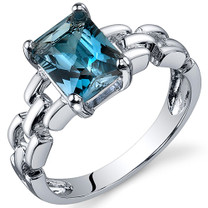 Chain Link Design 1.75 carats London Blue Topaz Engagement Sterling Silver Ring in Sizes 5 to 9 Style SR10554