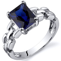 Chain Link Design 2.00 carats Blue Sapphire Engagement Sterling Silver Ring in Sizes 5 to 9 Style SR10558
