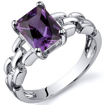 Chain Link Design 2.00 carats Alexandrite Engagement Sterling Silver Ring in Sizes 5 to 9 Style SR10562