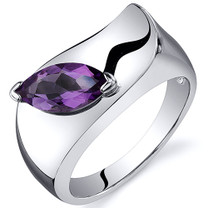 Musuem Style Marquise Cut 1.00 carats Amethyst Sterling Silver Ring in Sizes 5 to 9 Style SR10598
