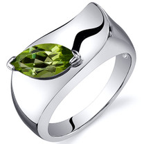 Musuem Style Marquise Cut 1.00 carats Peridot Sterling Silver Ring in Sizes 5 to 9 Style SR10602
