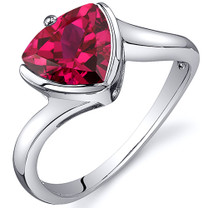 Trillion Cut Bypass Style 2.50 carats Ruby Sterling Silver Ring in Sizes 5 to 9 Style SR10626