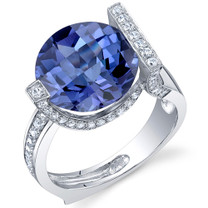 Artistic 7.00 Carats Checkerboard Round Cut Alexandrite Sterling Silver Ring in Sizes 5 to 9 Style SR10692