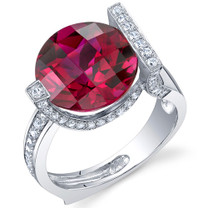 Artistic 7.00 Carats Checkerboard Round Cut Ruby Sterling Silver Ring in Sizes 5 to 9 Style SR10694