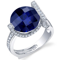 Artistic 7.00 Carats Checkerboard Round Cut Blue Sapphire Sterling Silver Ring in Sizes 5 to 9 Style SR10696