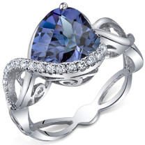 Swirl Design 4.00 Carats Heart Shape Alexandrite Sterling Silver Ring in Sizes 5 to 9 Style SR10706